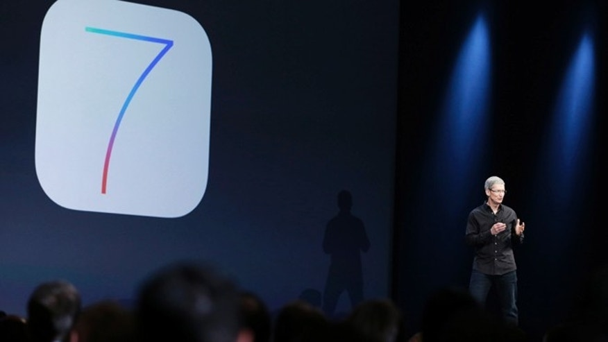 June 10, 2013: Apple CEO Tim Cook speaks about the new iOS 7 during the keynote address of the Apple Worldwide Developers Conference in San Francisco.