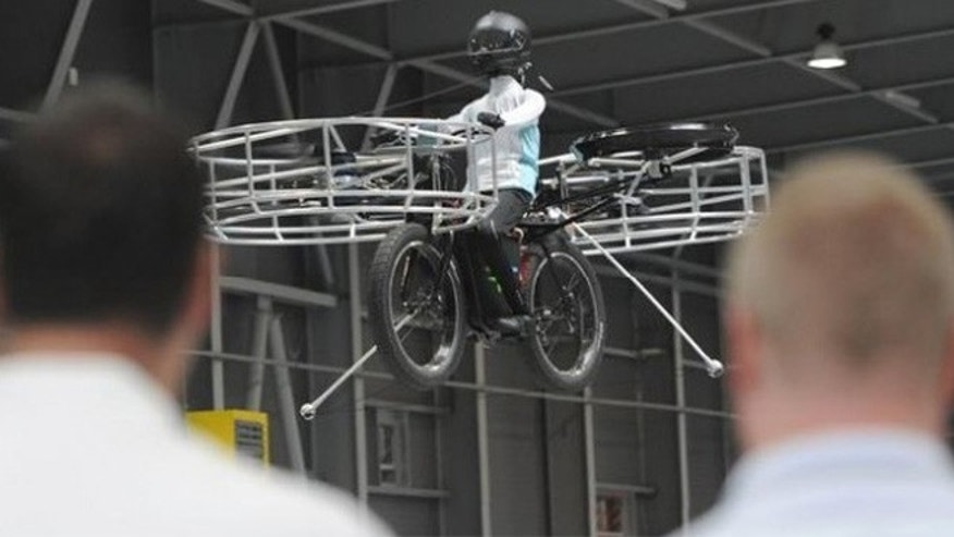 A group of local companies in Prague gathered  on Wednesday to test out a prototype of a flying bicycle.