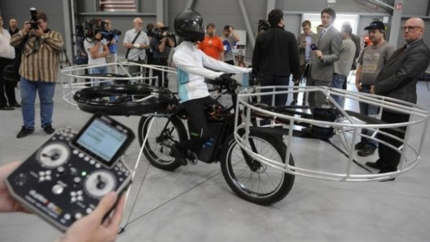 The 220-pound bicycle's test flight went without a hitch.