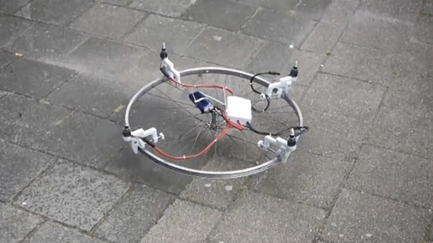 A bike wheel has been converted into a drone.