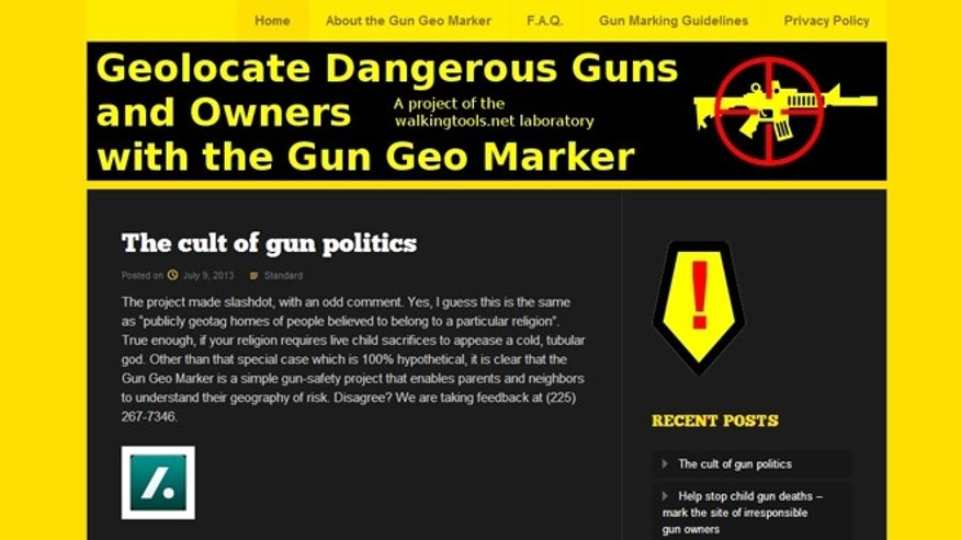 A screenshot of the website for Gun Geo Marker, a new app that lets people mark the home and business addresses of gun owners.