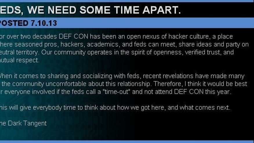 Late Wednesday night, DEFCON founder Jeff Moss posted a note saying that federal government officials should not attend this year's convention.