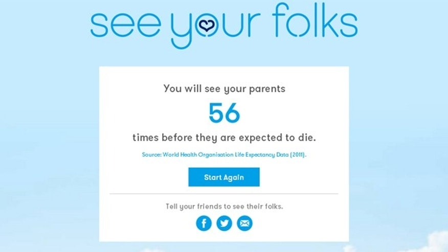 Website See Your Folks uses life expectancy data to estimate how much time you have left with your parents.