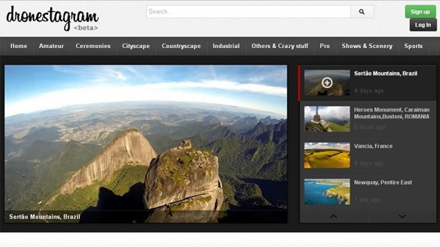 Dronestagr.am, a social networking site for drone photographers, is still in beta phase, but users can sign up to upload their photos.
