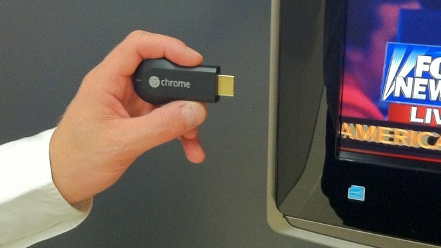The Google Chromecast plugs into your HDTV and lets you easily beam videos to it from a smartphone or tablet.