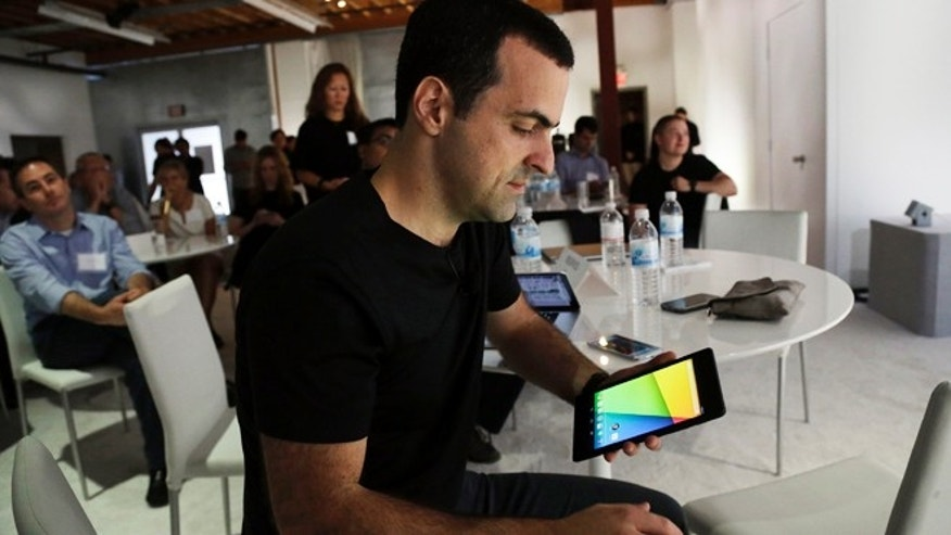 July 24, 2013: Hugo Barra, vice president Android product management at Google, uses the new Nexus 7 tablet in San Francisco.