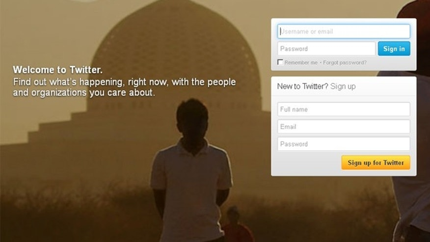 The log in page for the microblogging site Twitter.