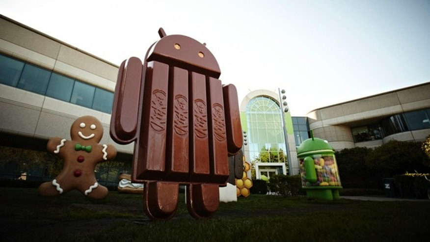 The new Kit Kat bar Android statue outside Google Inc. headquarters in Mountain View, CA.