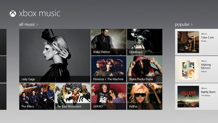 A screen image of the new Microsoft service called, Xbox Music.