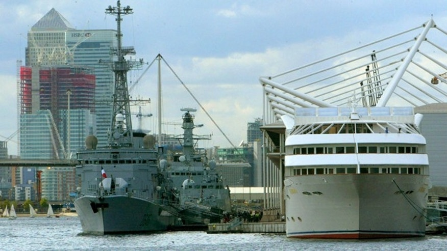 Sept. 9, 2003: Naval vessels stand displayed outside the DSEI (Defense Systems and Equipment International) exhibition conference, in east London, which is showcasing a range of military hardware from around the globe.