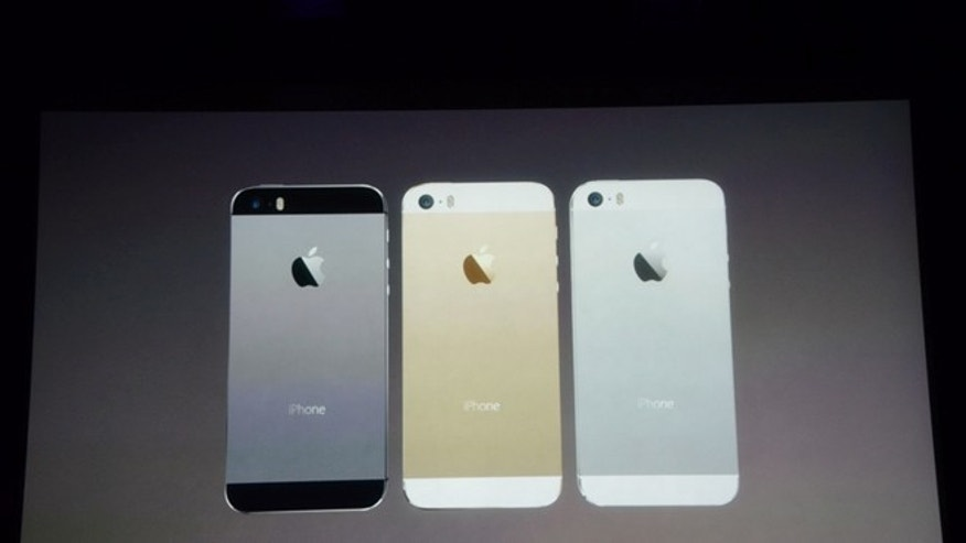The new Apple iPhone 5S comes in white, gray and a new gold tone.