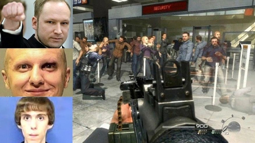 "Several mass killers, including Anders Breivik, Jared Lee Loughner and Adam Lanza, were active players of violent video games, including ""Call of Duty.,"" shown here."
