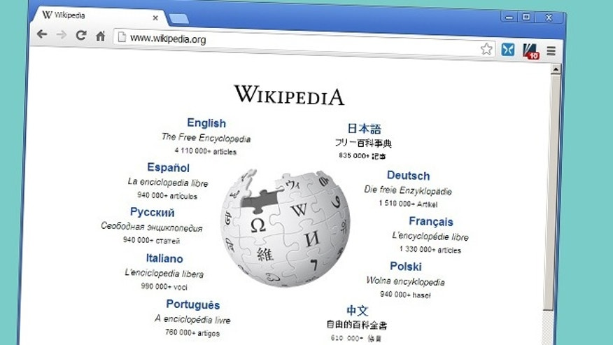 A web browser visits the home page of Wikipedia.org.