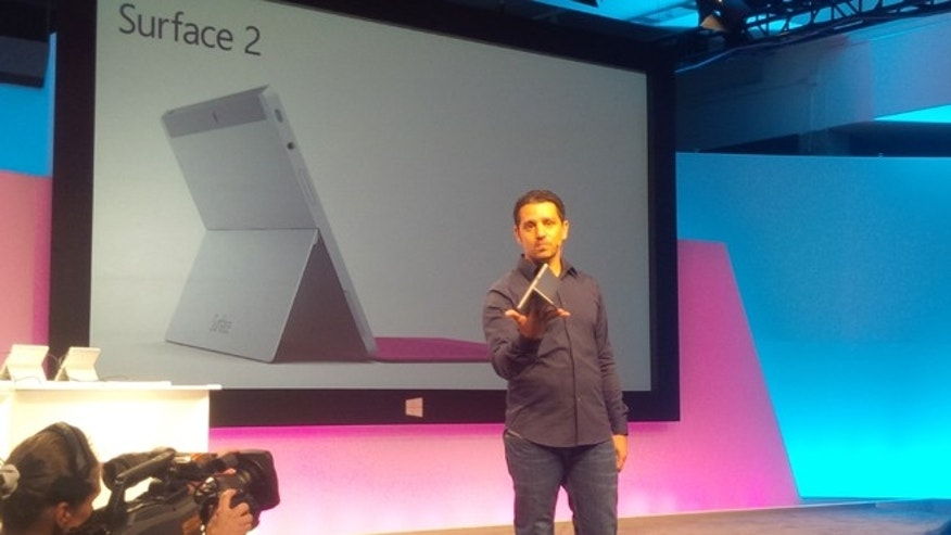 Sept. 23, 2013: Microsoft corporate vice president Panos Patay unveils the new Surface 2 tablet computers at an event in Manhattan.