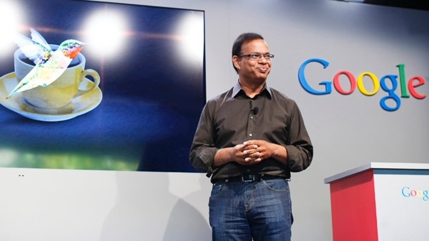 Sept. 26, 2013: Amit Singhal, senior vice president of search at Google, introduces the new 'Hummingbird' search algorithm at the garage where the company was founded on Google's 15th anniversary in Menlo Park, California.