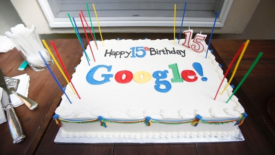 Sept. 26, 2013: A Google-themed birthday cake is seen at the house where Google was founded on the company's 15th anniversary in Menlo Park, California.