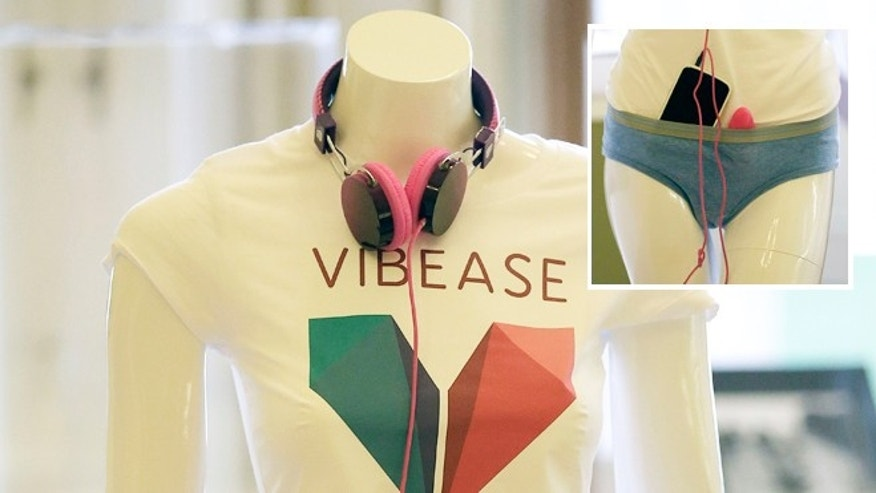 Sept. 30, 2013: A mannequin wearing headphones and accessories for Vibease, the worlds first wearable sexual vibrator controlled by smartphones, is displayed at the GLAZED Conference, a conference for the business of wearable technology, in San Francisco.