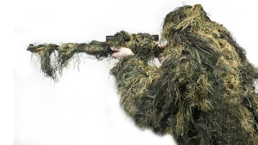 "A ""Stealth Ghillie Suit,"" one part of OpticsPlanet's $20,000 Invisibility Kit."