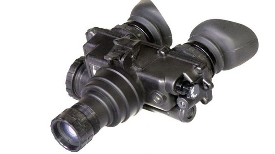 Military-issue night vision goggles, one part of OpticsPlanet's $20,000 Invisibility Kit.