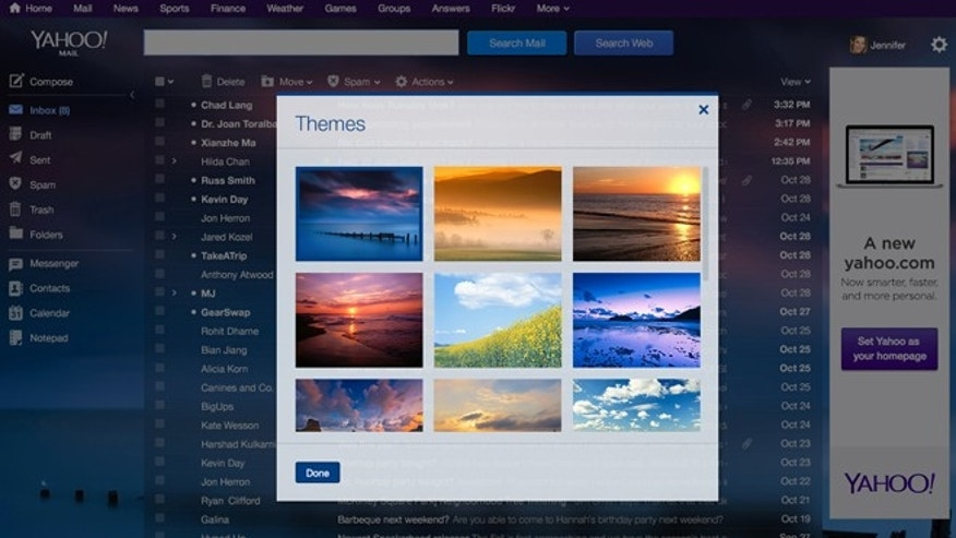 A new feature will enable Yahoo's email users to decorate their inboxes with pictures plucked from the company's photo-sharing service, Flickr.