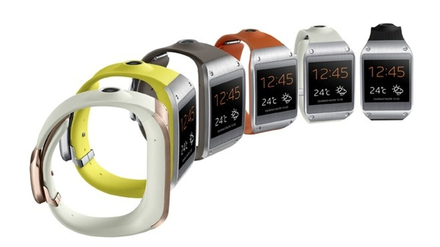 "The Samsung Galaxy Gear, the first in a massive wave of new ""smartwatches"" that present discreet bits of information from a connected smartphone."