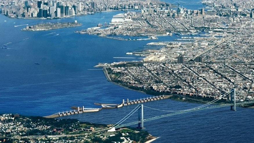 A proposal by Dutch engineering firm Arcadis to build a barrier in the Verrazano Narrows between New York's Brooklyn borough and Staten Island, shielding the Upper New York Bay.