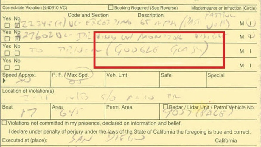 "A ticket issued in California for ""driving with a monitor visible to driver,"" in this case the high-tech specs known as Google Glass."