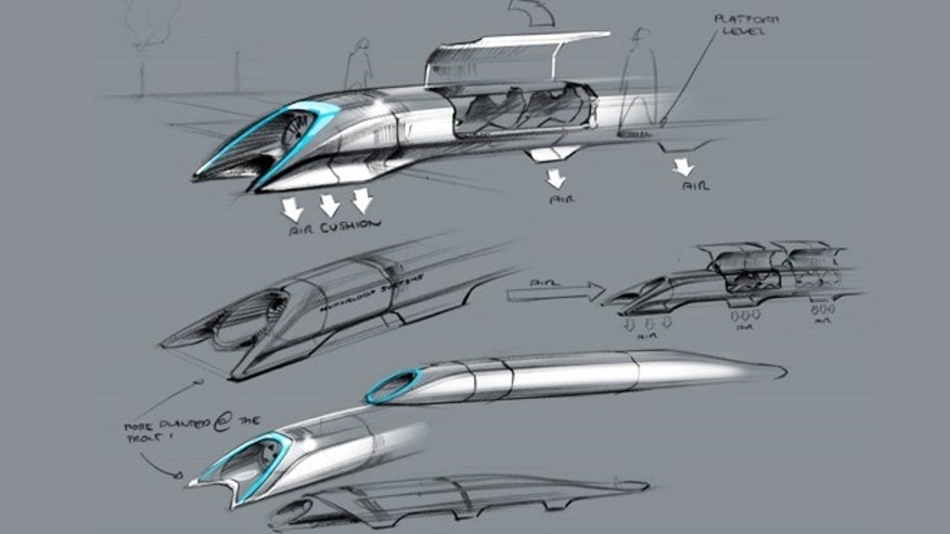 Aug. 12, 2013: Concept sketches for the Hyperloop transportation system, which uses electromagnets and pneumatic tubes to transport people (and cars) at up to 800 miles per hour.
