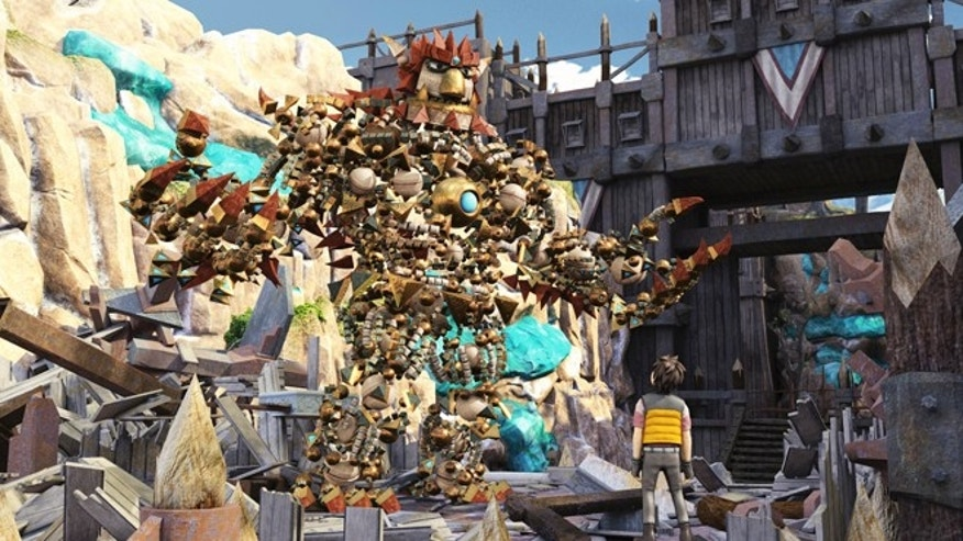 The hero of the game, also called Knack, shown in this image, is made up of 5,000 parts that cluster together and hang in the air to shape its ever-metamorphosing form.