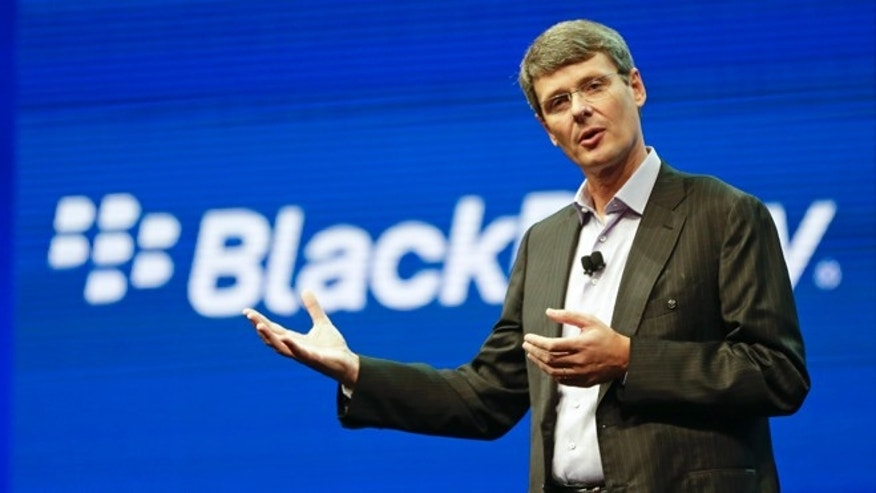 Thorsten Heins, president and CEO at BlackBerry, speaks at a May conference in Orlando, Fla. BlackBerry abandoned its sale process on Monday, Nov. 4, 2013, and announced it will replace Heins.