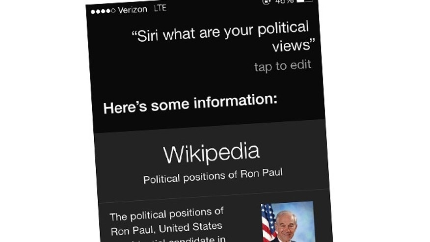 Ask Siri what her political views are and the iPhone's personal assistant will gladly tell you all about Ron Paul.