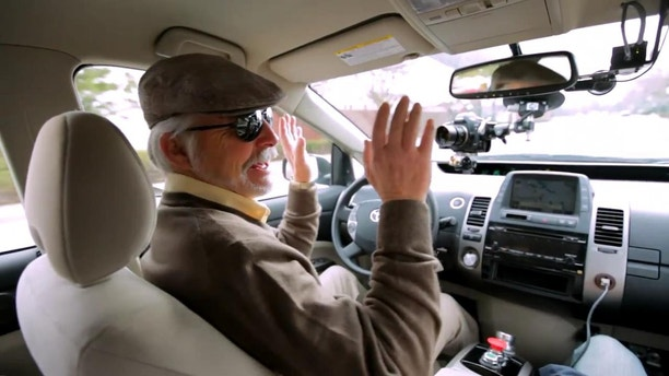 Steve Mahan, head of the Santa Clara Valley Blind Center, 'drove' along a specially programmed route thanks to Google's autonomous driving technology.
