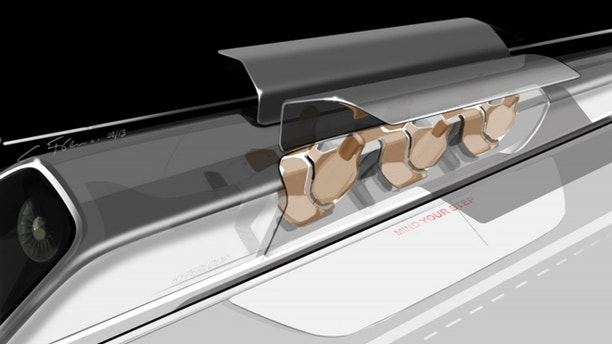 Aug. 12, 2013: An artist's concept of Elon Musk's Hyperloop passenger capsule, with doors open at the station.