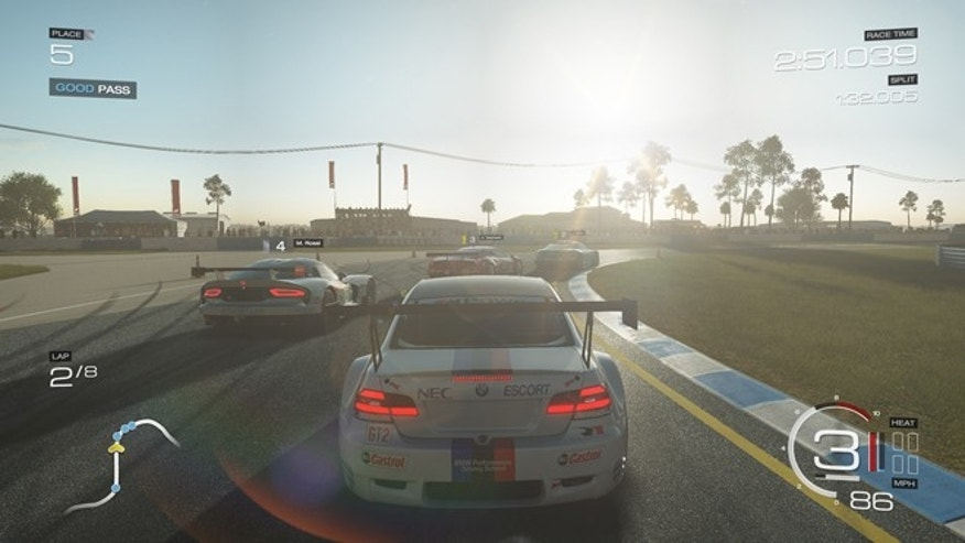 "A scene from the hyper-realistic Xbox One game ""Forza Motorsports 5."""
