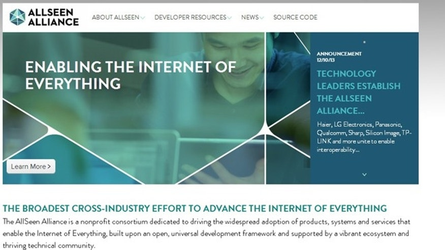 "A screenshot of the website for the AllSeen Alliance, a new initiative to make connected, ""smart home"" appliances smarter."