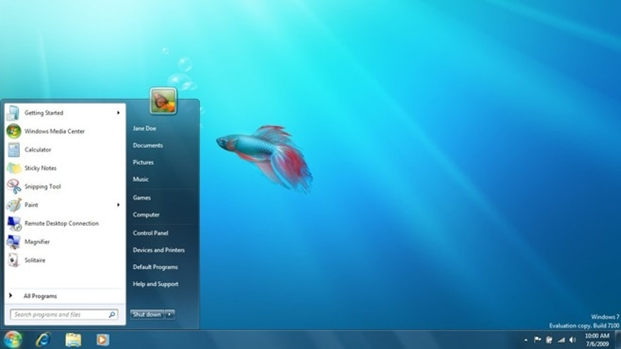 The default desktop layout in Microsoft Windows 7.