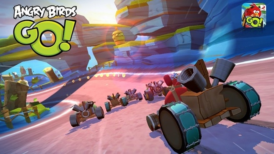 "A scene from the new car racing game ""Angry Birds Go."""