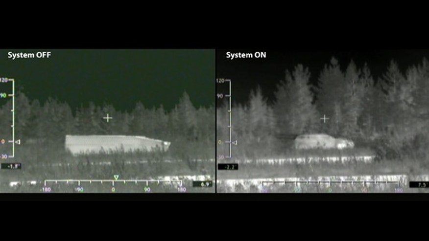 "Cloaking technology from BAE makes a tank (left) show up on radar screens in disguise (right). It's one of many ""invisibility cloaks"" being developed."