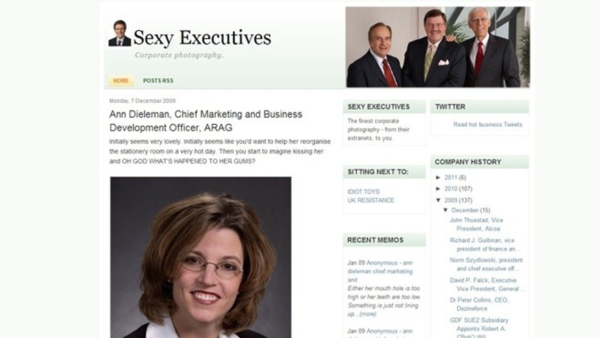 "A screenshot of the ""sexy executives"" website, which is being sued for copyright infringement. The case highlights the growing online problem of blogs using unlicensed photographs."