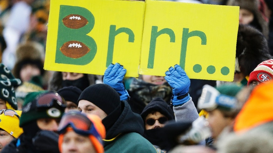 Jan. 5, 2014: A fan holds up a weather-related sign during the first half of an NFL wild-card playoff football game between the Green Bay Packers and the San Francisco 49ers, in Green Bay, Wis.