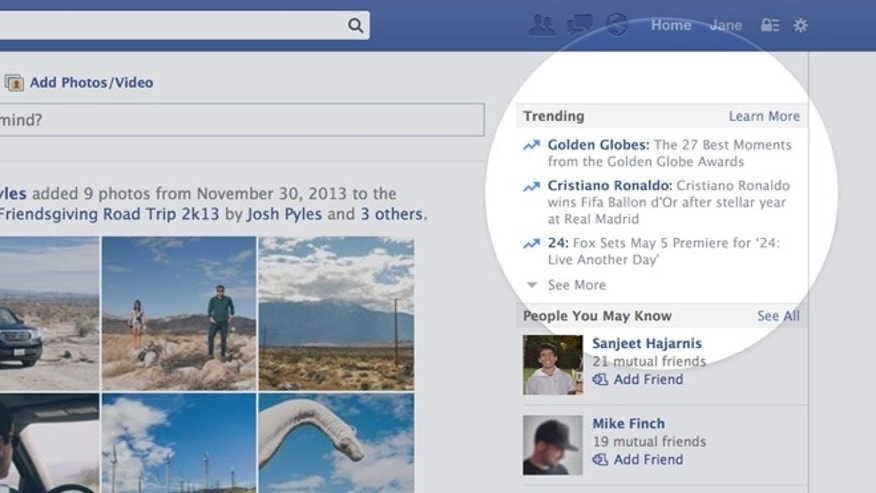 "Facebook on Thursday unveiled a ""trending topics"" module to show users what other Facebookers are talking about."