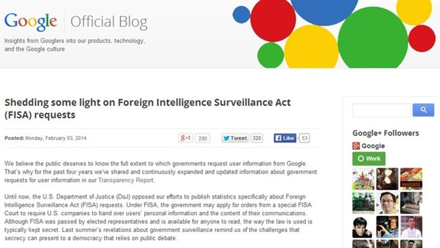 Feb. 3, 2013: A Google blog post describes new data the company is able to reveal about government surveillance.