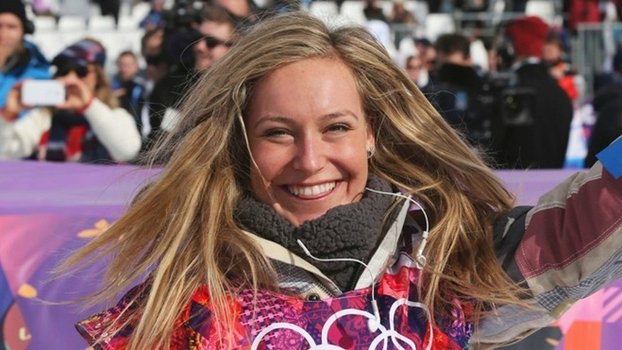 Feb. 9, 2014: Jamie Anderson of the United States celebrates after winning the women's snowboard slopestyle final at the 2014 Winter Olympics in Krasnaya Polyana, Russia.
