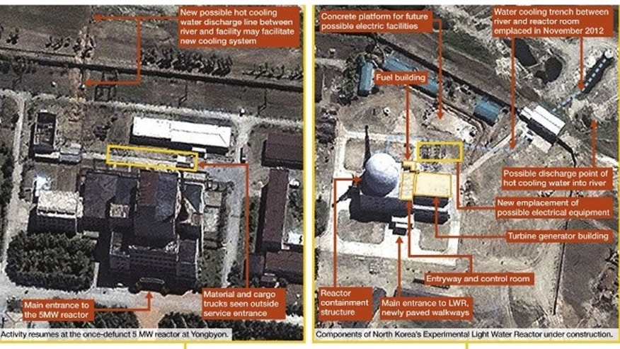 Satellite imagery from May 2013 of the Yongbyon Nuclear Scientific Research Center in North Korea.