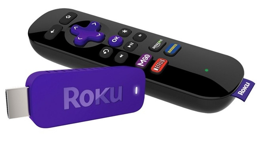 The Roku Streaming stick. Roku is getting into an Internet video-streaming stick fight with Google's Chromecast. Like the similarly shaped Chromecast, Roku's thumb-sized device plugs into a TV's HDMI port and feeds Internet video through a Wi-Fi connection.