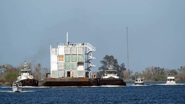 March 6, 2014: The Google barge is seen in a channel west of the Port of Stockton, Calif.