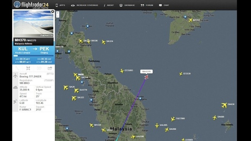 March 8, 2014: Real-time flight tracker flightradar24 offers some information on Malaysian Airlines flight 370 -- but not enough to help guide rescue workers.