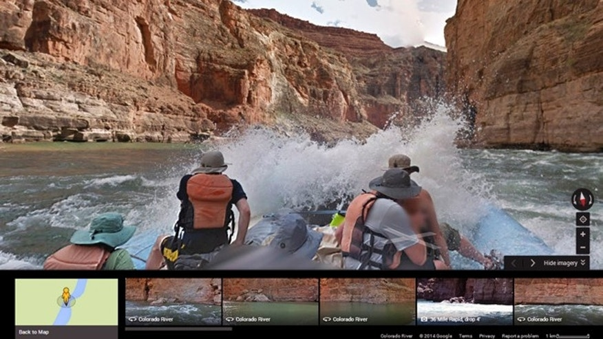A frame from a moving time-lapse sequence of images, as Internet viewers would see it, of rafters on the Colorado River in Grand Canyon National Park., Ariz.