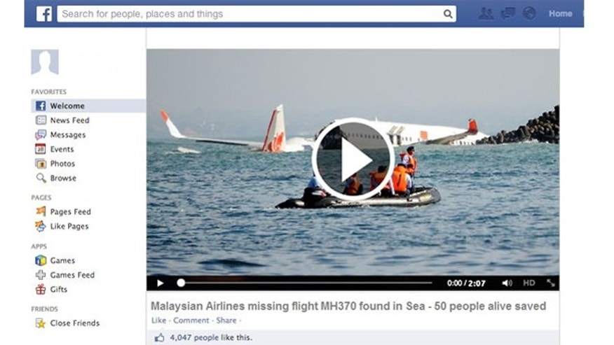 A fake Facebook page promising news video about Malaysia Airlines Flight MH370.