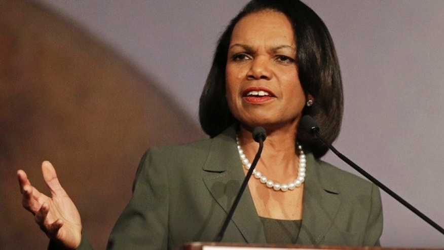 March 15, 2014: Former Secretary of State Condoleezza Rice gestures while speaking at the California Republican Party 2014 Spring Convention in Burlingame, Calif.